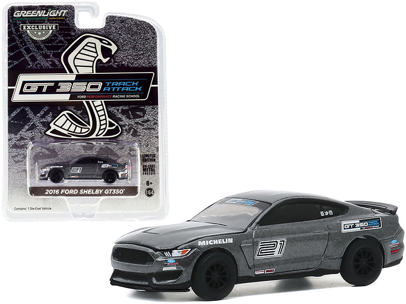 "2016 Ford Mustang Shelby GT350 #21 Gray ""Ford Performance Racing School"" GT350 Track Attack ""Hobby Exclusive"" 1:64 Diecast Model - Greenlight - 30192"