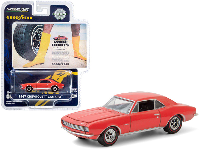 "1967 Chevrolet Camaro Orange ""Wide Boots"" ""New Wide Tread Tires from Goodyear"" Goodyear Vintage Ad Cars ""Hobby Exclusive"" 1:64 Diecast Model Car - Greenlight - 30195"