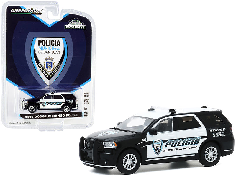 "2018 Dodge Durango Police Black and White ""Policia Municipal de San Juan"" (Puerto Rico) ""Hobby Exclusive"" 1:64 Diecast Model Car - Greenlight - 30197"