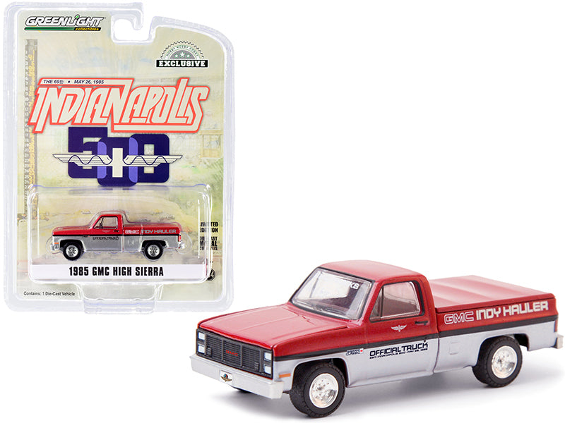 "1985 GMC High Sierra Pickup Official Truck with Bed Cover Red Metallic and Silver ""69th Annual Indianapolis 500 Mile Race"" GMC Indy Hauler ""Hobby Exclusive"" 1:64 Diecast Model Car - Greenlight - 30202"