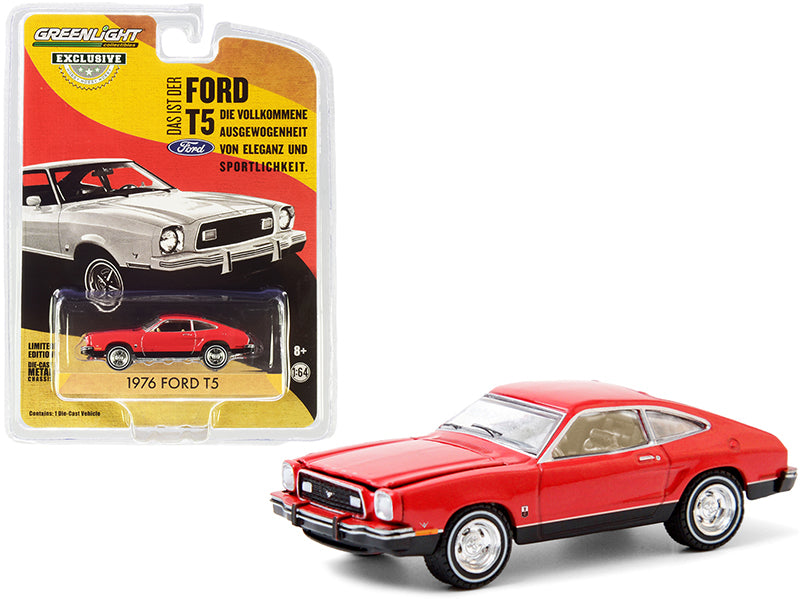 "1976 Ford T5 Vermilion Red with Black Bottom ""Hobby Exclusive"" 1:64 Diecast Model Car - Greenlight - 30204"