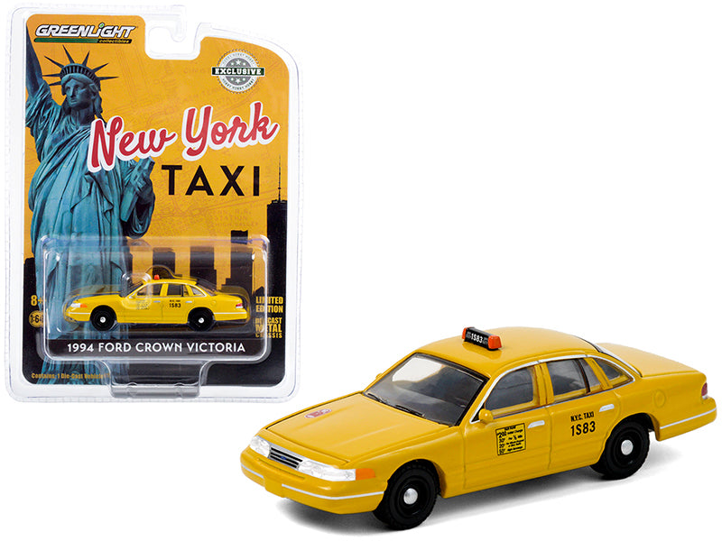 "1994 Ford Crown Victoria Yellow ""NYC Taxi"" (New York City) ""Hobby Exclusive"" 1:64 Diecast Model Car - Greenlight 30206"