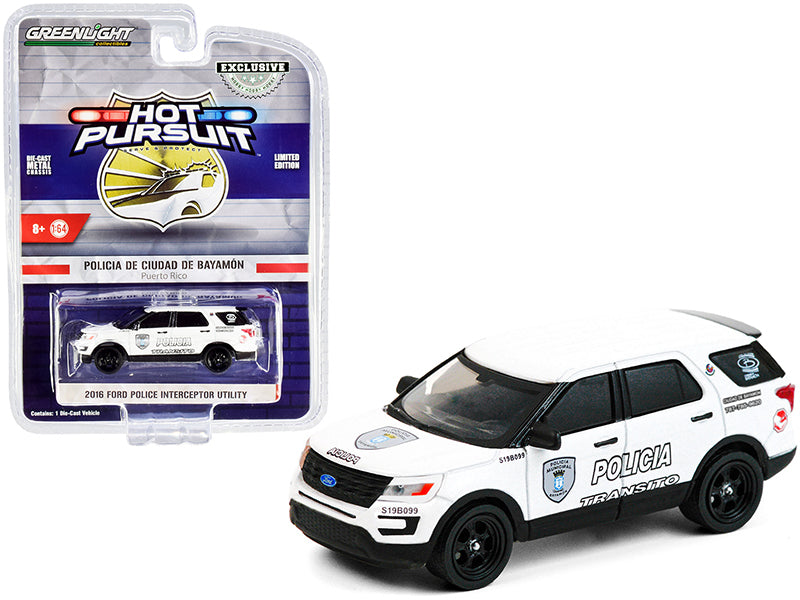 "2016 Ford Police Interceptor Utility White ""Policia Transito"" Bayamon City Police Department (Puerto Rico) ""Hot Pursuit"" Series 1:64 Diecast Model Car - Greenlight - 30210"