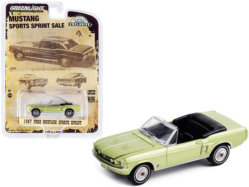 "1967 Ford Mustang Sports Sprint Convertible Lime Gold Metallic ""Hobby Exclusive"" 1:64 Diecast Model Car - Greenlight - 30215"