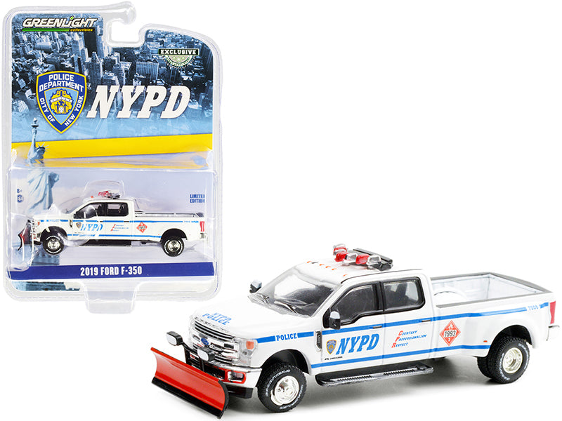 "2019 Ford F-350 Dually Pickup Truck with Snow Plow White ""New York City Police Department"" (NYPD) ""Hobby Exclusive"" 1:64 Diecast Model Car - Greenlight - 30216"