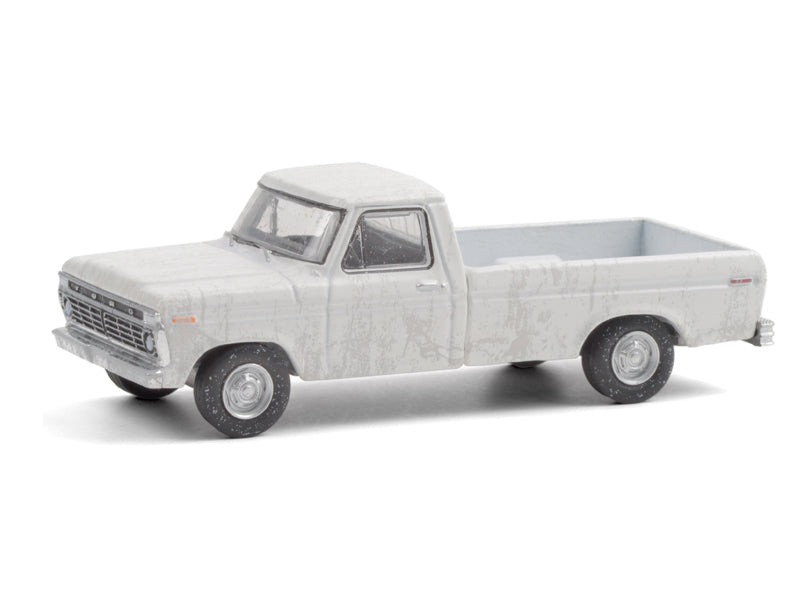 "1973 Ford F-100 Pickup Truck White (Dirty Version) ""Hobby Exclusive"" 1:64 Diecast Model Car - Greenlight - 30217"