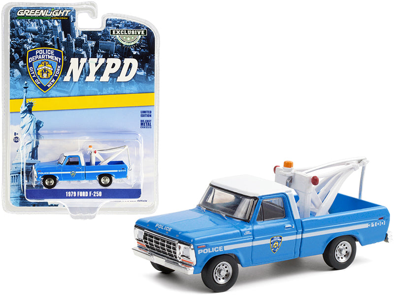"1979 Ford F-250 Tow Truck w/ Drop-In Tow Hook Blue w/ White Top (NYPD) ""Hobby Exclusive"" 1:64 Diecast Model Car - Greenlight - 30224"