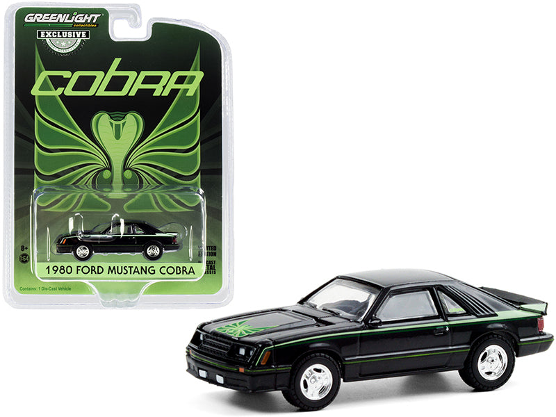 "1980 Ford Mustang Cobra Black with Green Cobra Hood Graphics and Stripe Treatment ""Hobby Exclusive"" 1:64 Diecast Model Car - Greenlight - 30228"