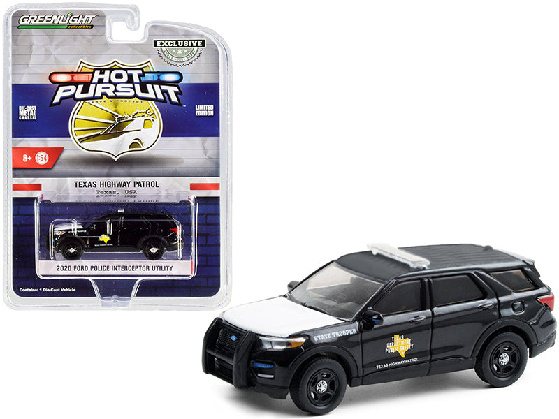 "2020 Ford Police Interceptor Utility ""Texas Highway Patrol"" Black with White Hood ""Hot Pursuit"" Series 1:64 Diecast Model Car - Greenlight - 30234"
