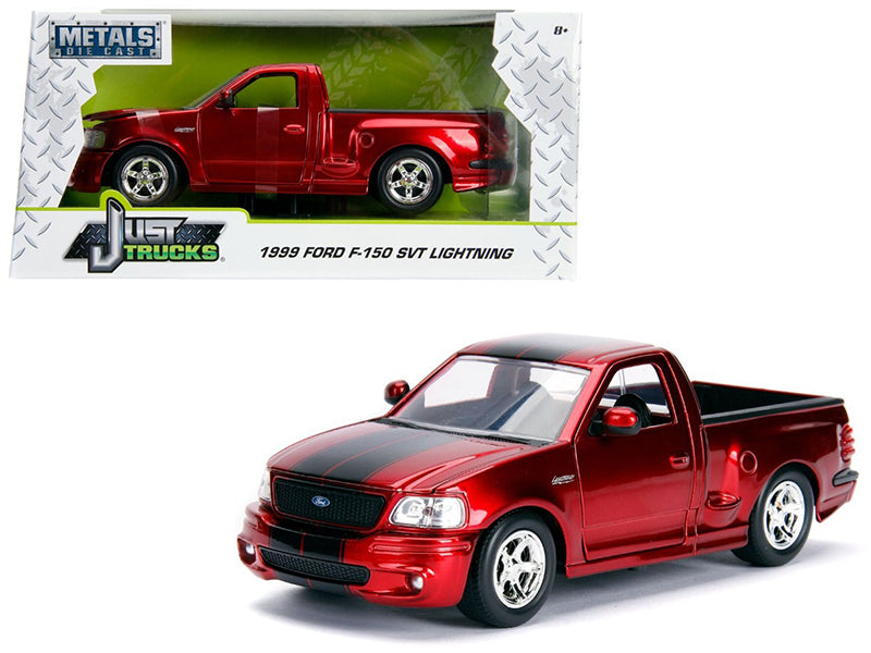 "1999 Ford F-150 SVT Lightning Pickup Truck Candy Red w/ Black Stripes ""Just Trucks"" Series 1:24 Diecast Model Car - Jada - 30357"