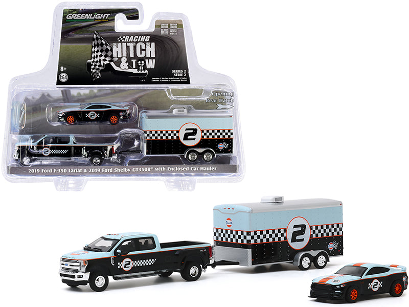 "2019 Ford F-350 Lariat Dually Pickup Truck and 2019 Ford Mustang Shelby GT350R #2 w/ Enclosed Car Hauler ""Gulf Oil"" ""Racing Hitch and Tow"" Series 2 Diecast 1:64 Model - Greenlight 31090B"
