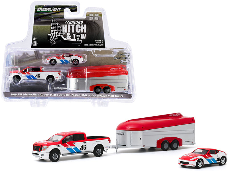 "2019 Nissan Titan XD Pro-4X Pickup Truck and 2019 Nissan 370Z #46 w/ Aerovault MKII Trailer ""BRE"" (Brock Racing Enterprises) ""Racing Hitch and Tow"" Series 2 Diecast 1:64 Model - Greenlight 31090C"