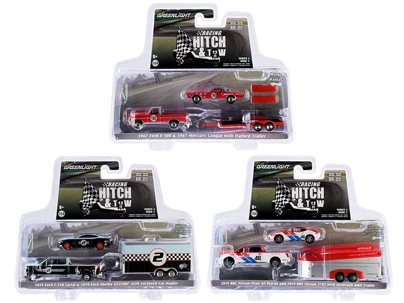 """Racing Hitch & Tow"" Series 2 Set of 3 pieces 1:64 Diecast Model - Greenlight 31090"