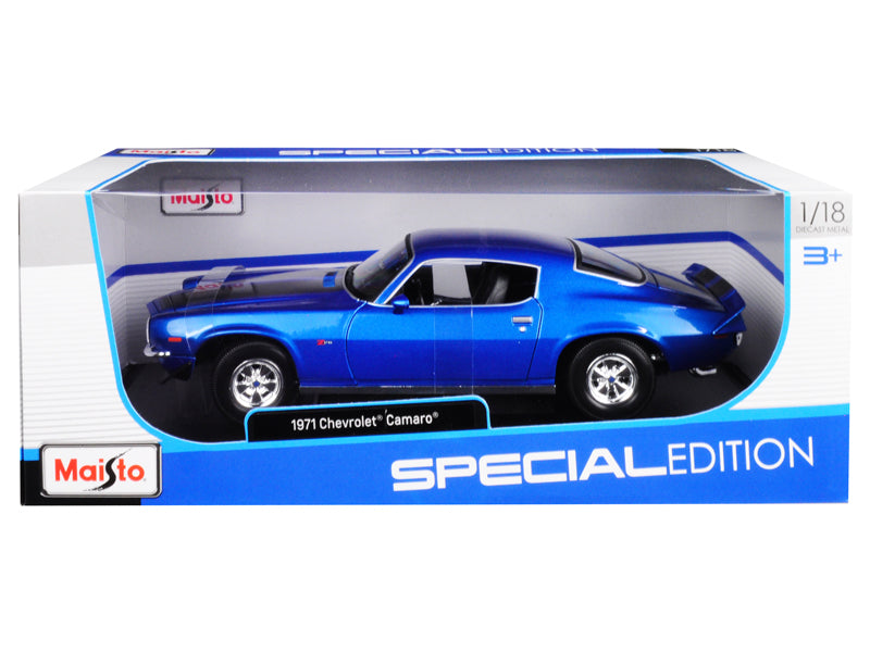 1971 Chevrolet Camaro Metallic Blue w/ Black Stripes 1:18 Diecast Model Car - Maisto - 31131BL