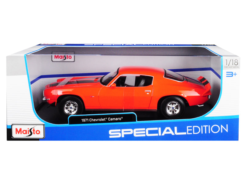 1971 Chevrolet Camaro Orange w/ Black Stripes 1:18 Diecast Model Car - Maisto - 31131OR