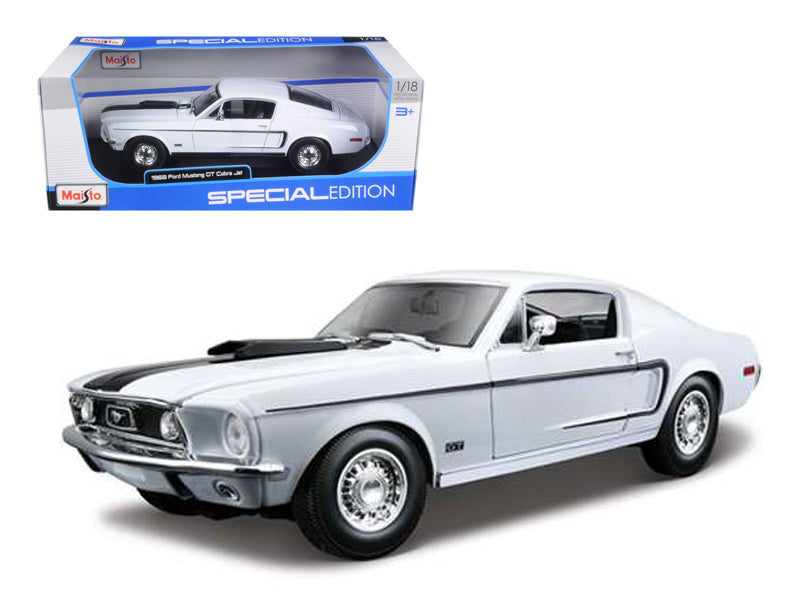 1968 Ford Mustang CJ Cobra Jet White 1:18 Diecast Model Car - Maisto - 31167WH