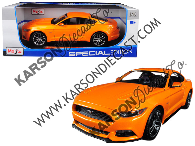 2015 Ford Mustang GT 5.0 Metallic Orange Special Edition 1:18 Diecast Model Car - Maisto - 31197OR