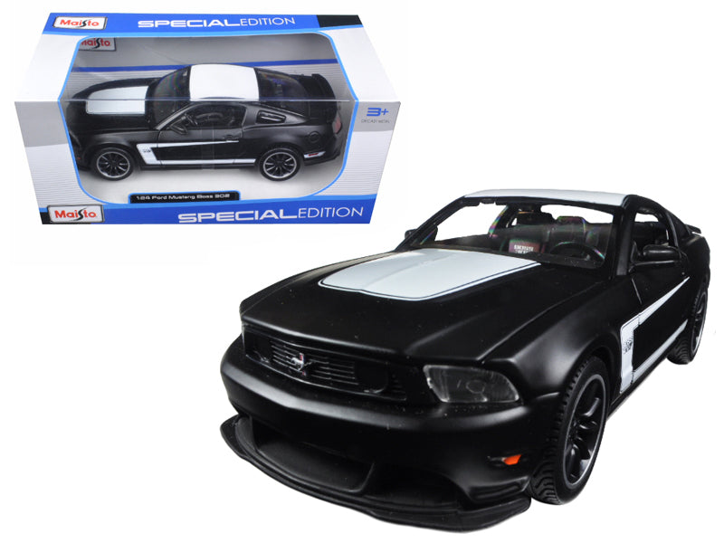 2012 Ford Mustang Boss 302 Matte Black 1:24 Diecast Model - Maisto - 31269MTBK