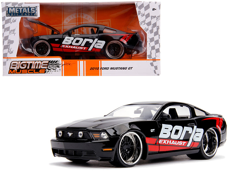 "2010 Ford Mustang GT ""Borla Exhaust"" Black w/ Red Stripes ""Bigtime Muscle"" 1:24 Diecast Model Car - Jada - 31322"