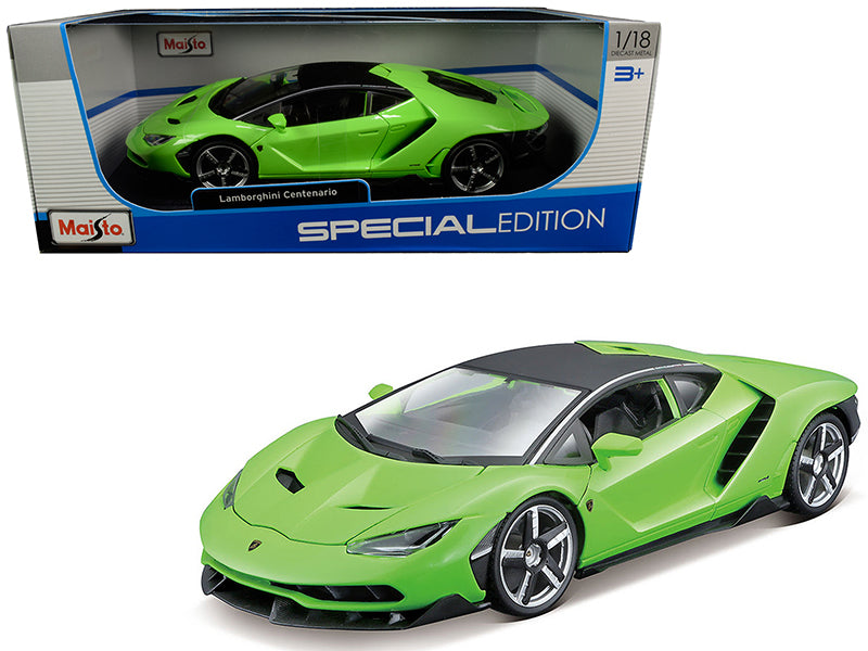 Lamborghini Centenario Lime Green with Matt Black Top 1:18 Diecast Model Car - Maisto 31386GRN