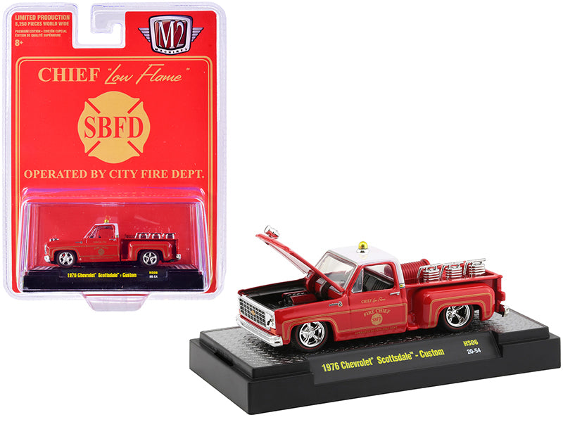 "1976 Chevrolet Scottsdale Custom Square Body Fire Truck Red Fire Chief ""Low Flame"" ""SBFD Operated by City Fire Department"" Limited Edition 1:64 Diecast Model Car - M2 Machines 31500-HS06"