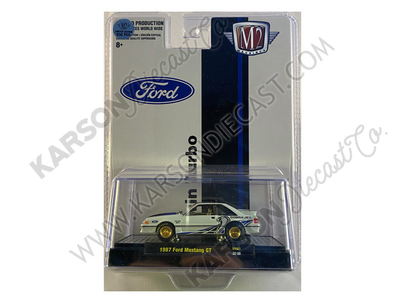 CHASE 1987 Ford Mustang GT Cobra Jet Twin Turbo Fox Body 1:64 Diecast Model Car - M2 Machine 31500-HS07