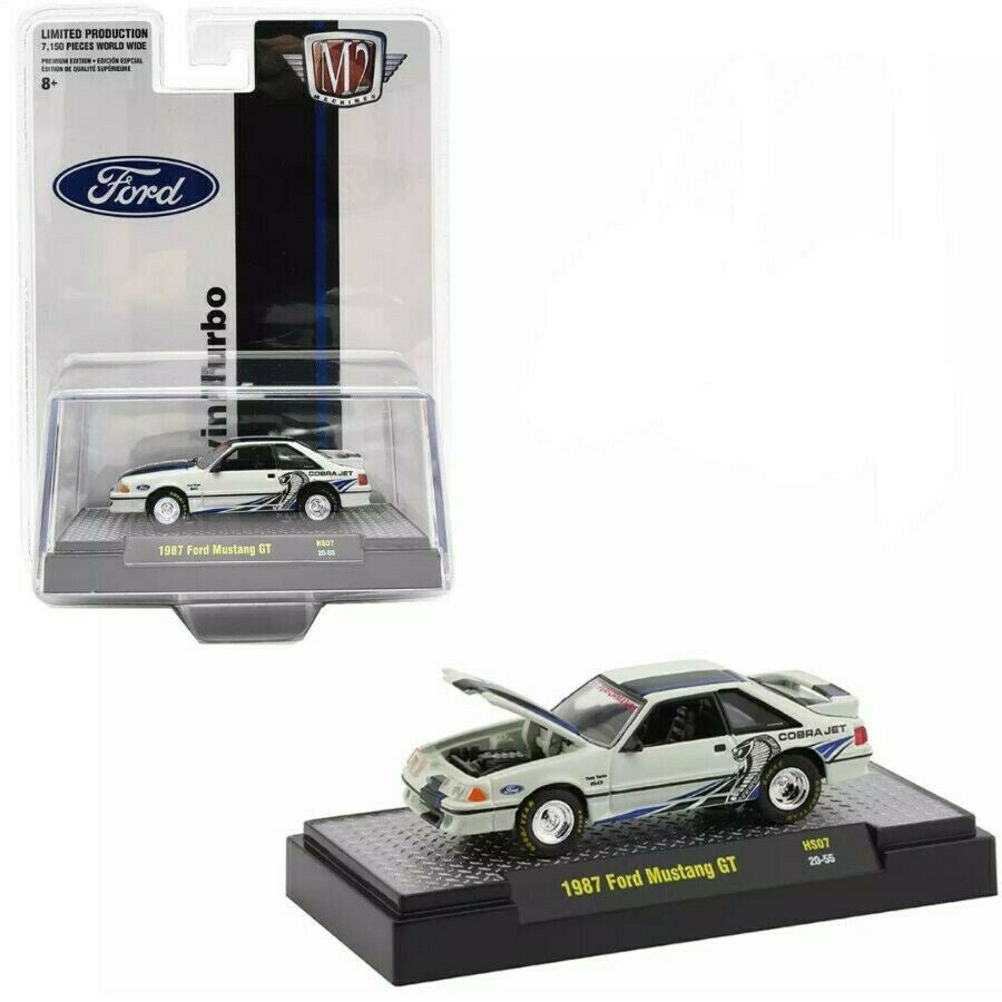 1987 Ford Mustang GT Cobra Jet Twin Turbo Fox Body 1:64 Diecast Model Car - M2 Machine 31500-HS07