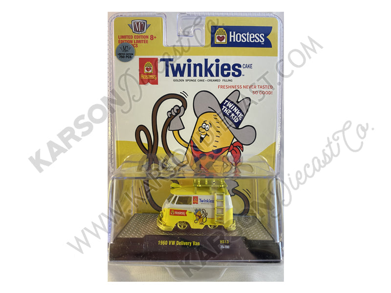 "CHASE 1960 Volkswagen Delivery Van with Ladder and Roof Rack White and Yellow ""Twinkies"" Limited Edition to 8250 pieces Worldwide 1:64 Diecast Model - M2 Machines 31500-HS13"