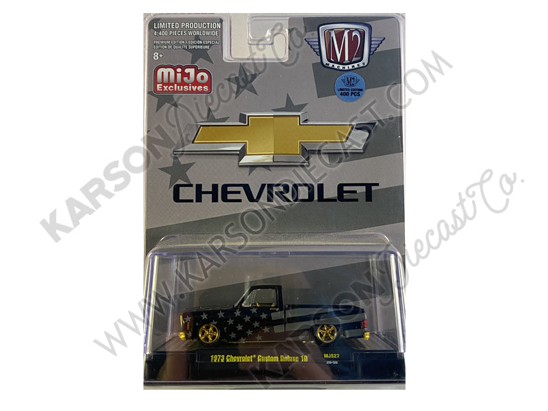 "CHASE 1973 Chevrolet Custom Deluxe 10 Square Body Pickup ""Stars and Stripes"" 1:64 Diecast Model - M2 Machines 31500-MJS27"