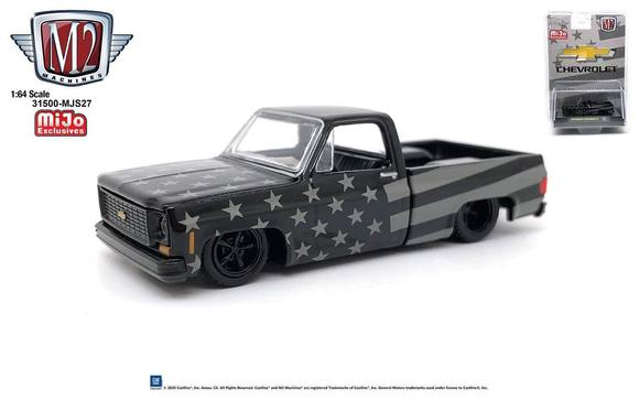 "1973 Chevrolet Custom Deluxe 10 Square Body Pickup ""Stars and Stripes"" 1:64 Diecast Model - M2 Machines 31500-MJS27"