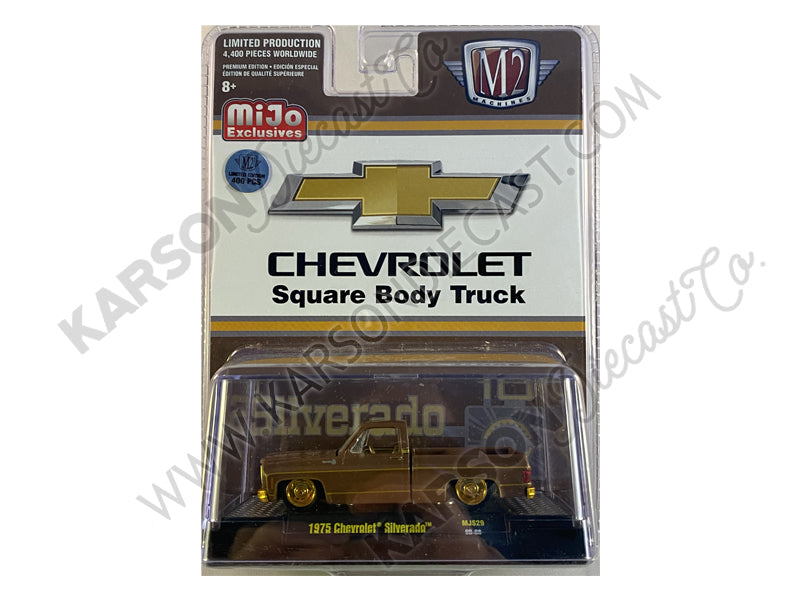 CHASE 1975 Chevrolet Silverado Pickup Square Body Truck Brown Metallic Limited Edition to 4400 pieces Worldwide 1:64 Diecast Model Car - M2 Machines 31500-MJS29