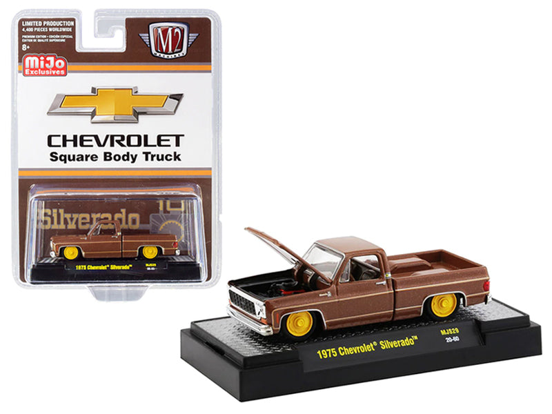 1975 Chevrolet Silverado Pickup Square Body Truck Brown Metallic Limited Edition to 4400 pieces Worldwide 1:64 Diecast Model Car - M2 Machines 31500-MJS29