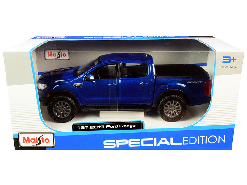 2019 Ford Ranger Lariat Sport Pickup Truck Dark Blue Metallic 1:27 Diecast Model - Maisto - 31521BL