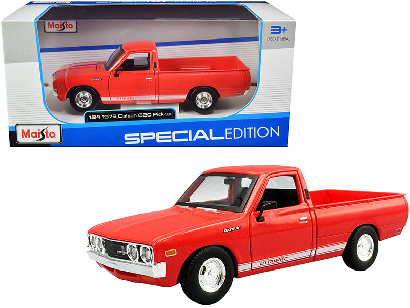 "1973 Datsun 620 ""Li'l Hustler"" Pickup Truck Orange with White Stripes ""Special Edition"" 1:24 Diecast Model Car - Maisto - 31522RD"