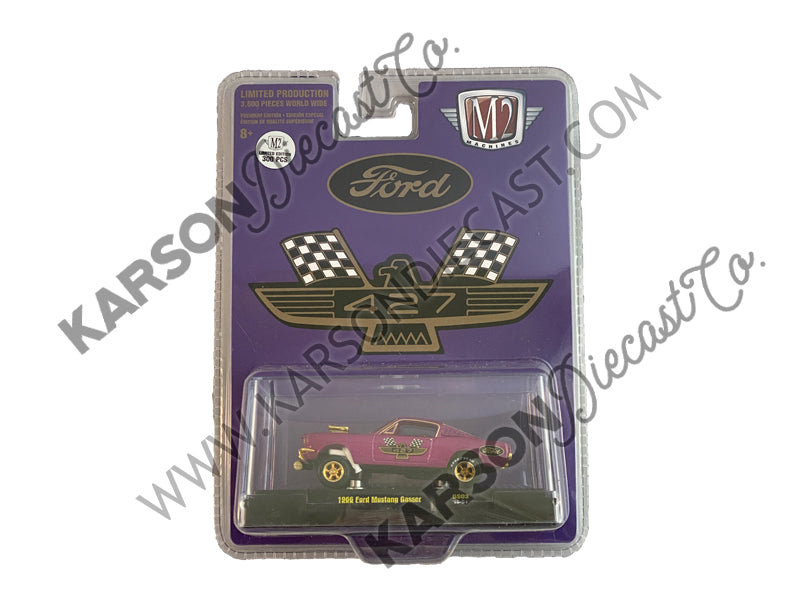 "1966 Ford Mustang Gasser Model Purple Metallic w/ Gold Wheels ""427"" ""Hobby Exclusive"" Limited Edition to 3,600 pieces Worldwide 1:64 Diecast - M2 Machines 31600-GS03-CHASE"