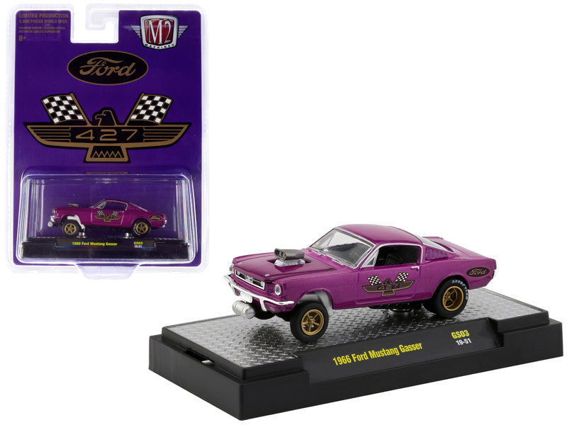 "1966 Ford Mustang Gasser Model Purple Metallic w/ Gold Wheels ""427"" ""Hobby Exclusive"" Limited Edition to 3,600 pieces Worldwide 1:64 Diecast - M2 Machines 31600-GS03"