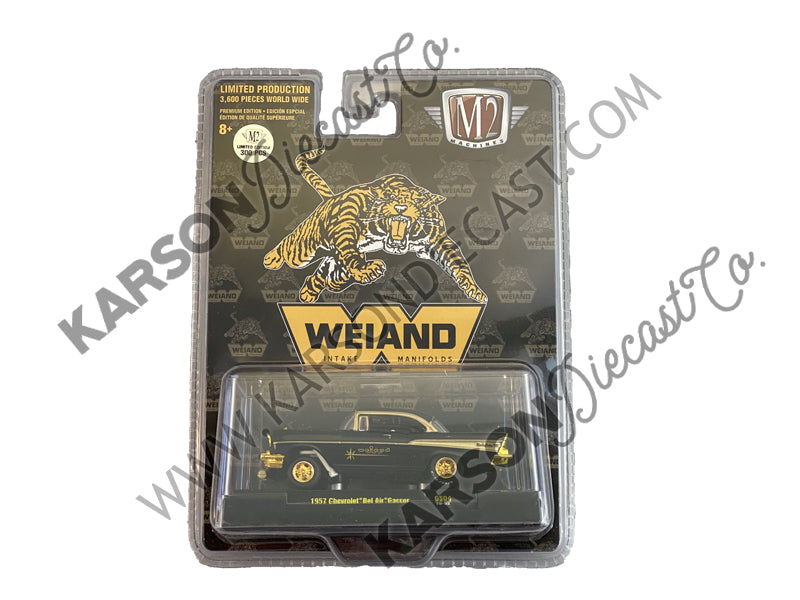 "1957 Chevrolet Bel Air Gasser Model Black ""Weiand"" ""Hobby Exclusive"" Limited Edition to 3,600 pieces Worldwide 1:64 Diecast Car - M2 Machines 31600-GS04-CHASE"