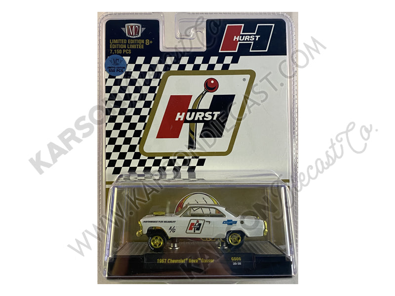 "CHASE 1967 Chevrolet Nova Gasser ""Hurst"" Pearl White with Gold Stripes Limited Edition to 7150 pieces Worldwide 1:64 Diecast Model Car - M2 Machines 31600-GS06"