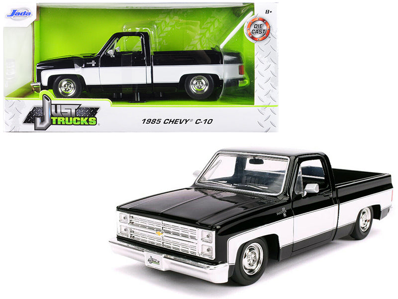 "1985 Chevrolet Silverado C-10 Pickup Truck Stock Wheels Black and White ""Just Trucks"" 1/24 Diecast Model Car - Jada - 31605"