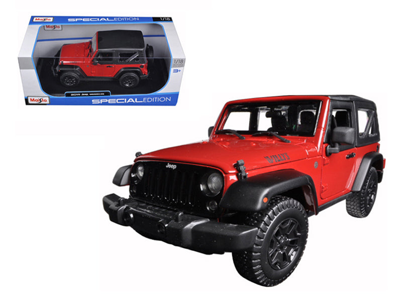 2014 Jeep Wrangler Willys Red 1/18 Diecast Model Car - Maisto - 31676RD