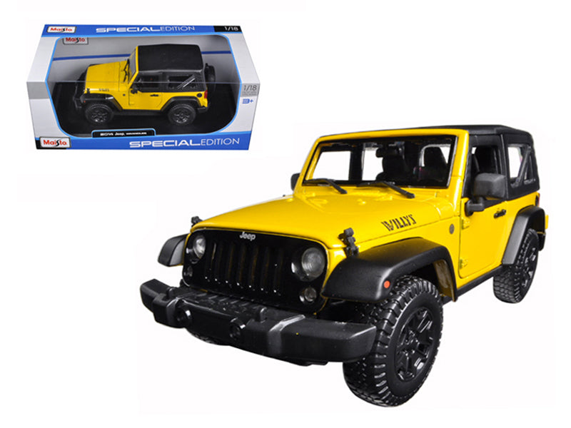 2014 Jeep Wrangler Willys Yellow 1/18 Diecast Model Car - Maisto - 31676YL