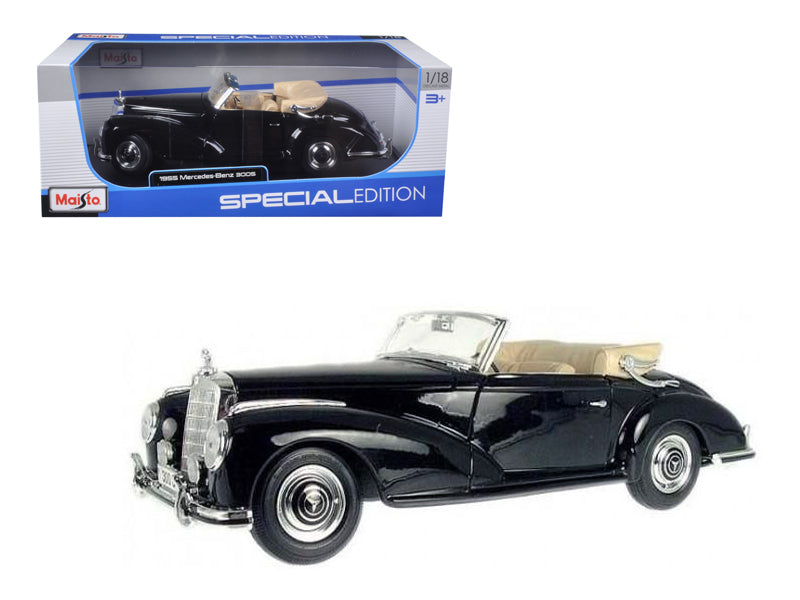 1955 Mercedes 300S Cabriolet Black 1/18 Diecast Car Model - Maisto - 31806