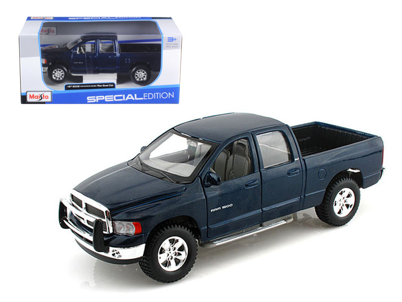 2002 Dodge Ram Quad Cab Pickup Blue 1:27 Scale Diecast Model - Maisto - 31963BL