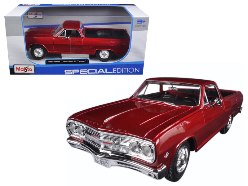 1965 Chevrolet El Camino Metallic Red 1:25 Diecast Model Car - Maisto - 31977RD