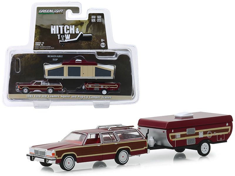 "1981 Ford LTD Country Squire and Pop-Up Camper Trailer Dark Red with Wood Paneling ""Hitch & Tow"" Series 16 1/64 Diecast Models - Greenlight - 32160C"