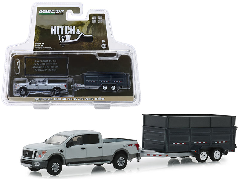 "2018 Nissan Titan XD Pro-4X Pickup Truck & Double-Axle Dump Trailer Gray ""Hitch & Tow"" Series 16 1/64 Diecast Models - Greenlight - 32160D"