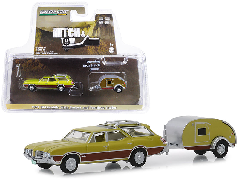 "1971 Oldsmobile Vista Cruiser & Teardrop Travel Trailer Green ""Hitch & Tow"" Series 17 1:64 Diecast Model Car - Greenlight - 32170A"