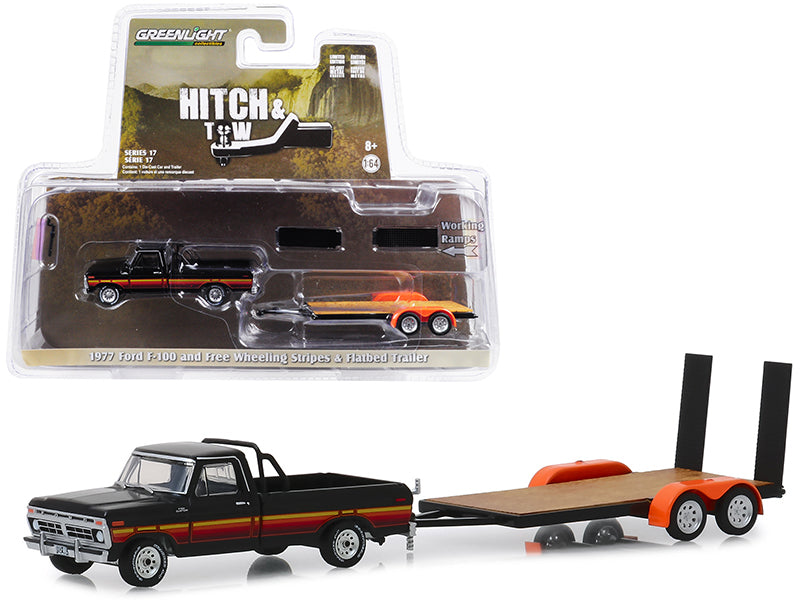 "1977 Ford F-100 Pickup Truck Black w/ Free Wheeling Stripes & Flatbed Trailer ""Hitch & Tow"" Series 17 1:64 Diecast Model Car - Greenlight - 32170B"