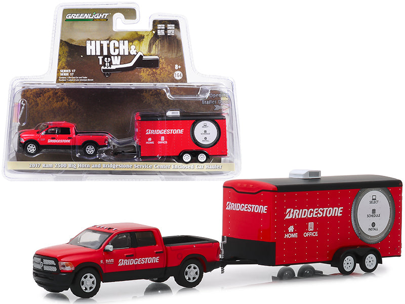 "2017 Dodge Ram 2500 Big Horn Pickup Truck & Enclosed Car Hauler ""Bridgestone Service Center"" Red ""Hitch & Tow"" Series 17 1:64 Diecast Model Car - Greenlight - 32170C"