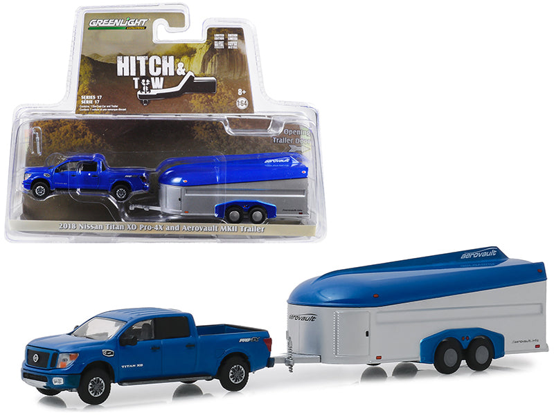 "2018 Nissan Titan XD Pro-4X Pickup Truck Dark Blue & Aerovault MKII Trailer ""Hitch & Tow"" Series 17 1:64 Diecast Model Car - Greenlight - 32170D"
